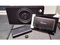 "Rockford Fosgate Shallow 12"" sub & Rockford Fosgate Prime R600X5 - 5 Channel Amplifier 600 Watts"