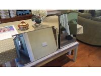 Vintage Retro Over Mantle Wall Wall Mirror Dressing Table Mirror with Wooden Back x 2