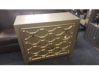 Gold Geometric Wood 1 Drawer 2 Door Cabinet