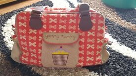 Yummy Mummy Changing Bag - Red Bows (with spare strap)