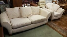 Striped Sofa two seater and armchair