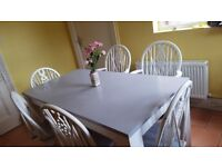 Dinning table with 6 chairs,shabby chic