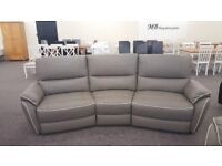 ScS Teo Grey Leather 4 Seater Electric Recliner Sofa White Piping Can Deliver View Hucknall Nottm