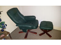 green leather reclining chair