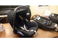 Maxicosi Cabriofix baby car seat with rain cover and travel system adapters