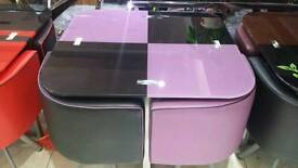 Glass dining tables and chairs. All designs various