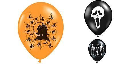 5 Luftballons Latex Helium Halloween Deko Scream Skelett Geisterhaus