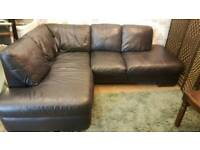 Black leather corner sofa & 2 seat sofa. Delivery available