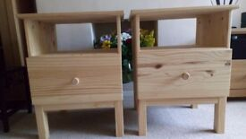 Pair of matching pine bedside tables with deep draws. Nearly new condition