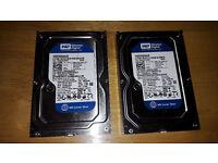 3 x Western Digital Cavier Blue SATA Desktop pc hard drives (2 x 250GB and 1 x 320GB)