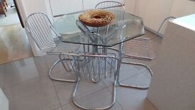 VINTAGE RETRO MID CENTURY BAUGHMAN STYLE BUTTERFLY CHROME GLASS DINING SUITE