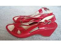 Clarks, red sandals, size 6