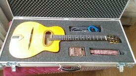 Rare Altamira Thinline Gypsy Jazz guitar w Bigtone Pickup + Custom Flight Case