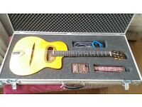 Rare Altamira Thinline Gypsy Jazz guitar w Bigtone Pickup + Custom Flight Case