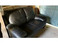 Black soft leather settee for sale