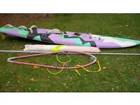 WINDSURFING BOARD OUTFIT COMPLETE WITH SAILS HANDLE MAST ETC