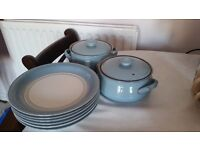Beautiful blue plates and casserole dishes