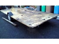 Large galvanised flatbed trailer