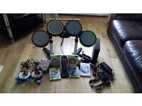 Xbox 360 console with drums sky landers and games