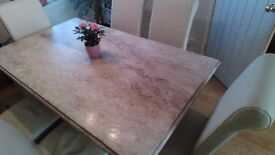 Marble table and 6 faux leather dining chairs