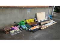 Mixed Lot - Curtain Rail, Tile Cutter, Hangers, Sign Car Jack, Garage House Clearance, Car Boot Sale