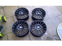 Four black 17inch FOX Alloy wheels FX004 Fits NEW Peugeot or Citroen 5 stud