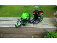 Motorbike helmet, gloves and boots