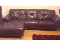 Purple Leather Corner Sofa,Excellent Condition