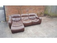 Comfy brown leather corner sofa.genuine leather, lazyboy design.very soft and comfy. can deliver