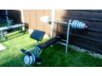 Weight bench with 45kg of weights