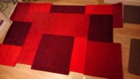 New 100% wool 150cm x 240cm red collage rug