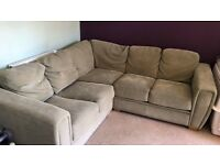 Corner sofa- very good condition - light sage colour/ stain resistant