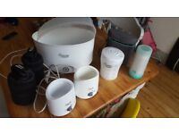 Big bundle of baby feeding equipment, mostly Tommee Tippee and including electric steriliser