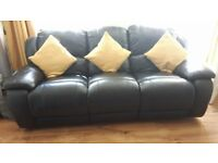 Black leather recliner sofa an 3 seater sofa