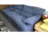 nice blue velour 3 peice suite +pouffe buyer collects