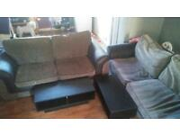 3+2 fabric sofas with built in sofa bed inc mattress- SALE OR SWPS