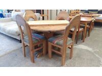 Solid pine extending table and 4 chairs