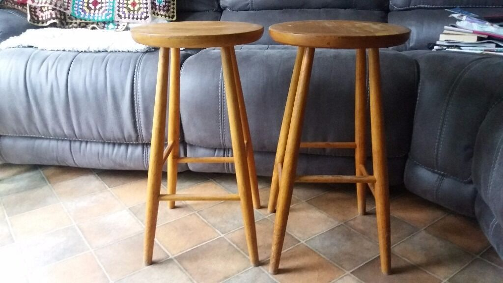 4 Solid Pine Kitchen Stools In Ballymena County