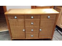 Solid pine and wicker sideboard