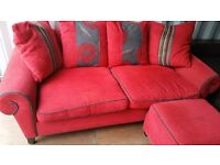 DFS RED LEFT OR RIGHT HANDED CORNER TYPE SOFA & ARMCHAIR FOR SALE.