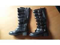 Black Boots with Buckle details size 6.5 UK (Sergio Todzi)
