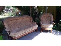Beige 3 Seater Sofa and Armchair