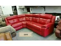 Red leather corner sofa recliner