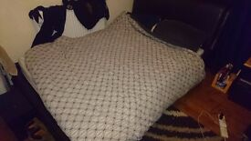 Black Padded Leather Double bed with IKEA Mattress like new