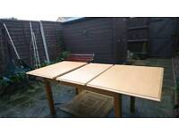 One large oak dining table sold as seen