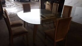 Diningroom table and six chairs