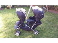 Graco Stadium Duo double pram including raincover - suitable from birth up to 15kg