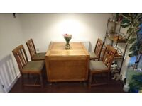 Oak, vintage, dinning table (drop leaf) with 4 chairs