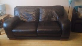 2 Dark Brown Two Seater Real Leather Sofas
