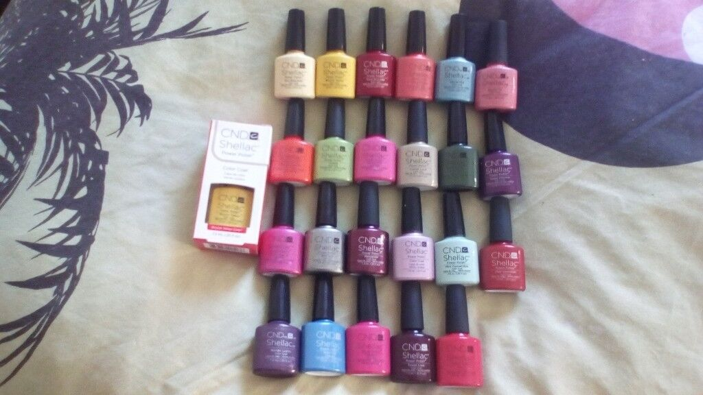 CND shellac gel nail polishin Rainham, London - 24 colours Some little bit in and some loads in One brand new in package All genuine purchased from sweet squared £15 each. Collection from rainham Essex. Please check out my other nail items
